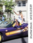 Small photo of Honolulu, Hawaii, USA - May 30, 2016: Waikiki Memorial Day Parade - Miss Aloha State