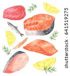 fresh fish meat set.there's... | Shutterstock .eps vector #641519275