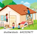 father  mother  son and...   Shutterstock .eps vector #641519677