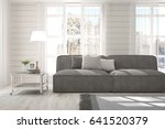 white room with sofa and winter ... | Shutterstock . vector #641520379