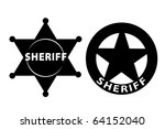 Black vector  Sheriff star on white background - stock vector