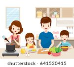 happy family cooking food in... | Shutterstock .eps vector #641520415
