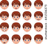 little boy various face... | Shutterstock .eps vector #641536375