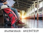 two backpacker and hat at the... | Shutterstock . vector #641547319