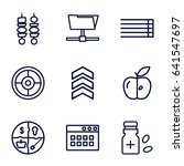 thin icons set. set of 9 thin...