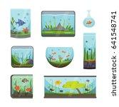 transparent aquarium isolated... | Shutterstock .eps vector #641548741