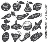 fruits and vegetables stickers  ... | Shutterstock . vector #641563009