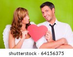 lovers couple holding red... | Shutterstock . vector #64156375