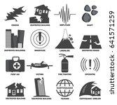 earthquake icons set.... | Shutterstock .eps vector #641571259