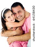father and daughter hugging and ... | Shutterstock . vector #64158430