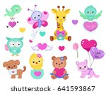 collection of cute cute animals ... | Shutterstock . vector #641593867