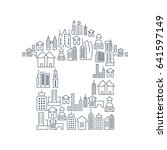city buildings lined icons set... | Shutterstock .eps vector #641597149