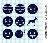 set of 9 smile filled icons... | Shutterstock .eps vector #641608021