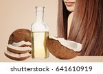 coconut oil for hair. cosmetic... | Shutterstock . vector #641610919