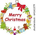 christmas wreath frame   Shutterstock .eps vector #64161379