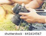 young professional photographer ... | Shutterstock . vector #641614567