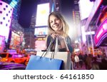 smiling woman carrying some... | Shutterstock . vector #64161850