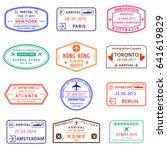 visa stamp set. passport stamps ... | Shutterstock . vector #641619829