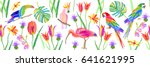 tropical birds and flowers.... | Shutterstock .eps vector #641621995