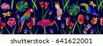 summer paradise. panoramic... | Shutterstock .eps vector #641622001