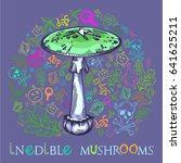 destroying angel mushroom in... | Shutterstock .eps vector #641625211
