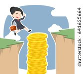 asian businesswoman use coins... | Shutterstock .eps vector #641625664