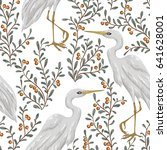 seamless pattern with heron... | Shutterstock .eps vector #641628001