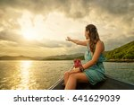 happy woman in dress traveling... | Shutterstock . vector #641629039
