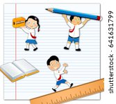 school children with stationery | Shutterstock . vector #641631799