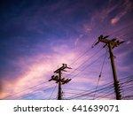 blue dark night sky with...   Shutterstock . vector #641639071