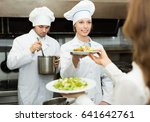 team of happy chefs and young... | Shutterstock . vector #641642761
