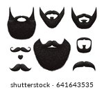 hand drawn beards and mustaches ... | Shutterstock .eps vector #641643535