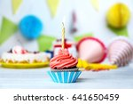 delicious cupcake with lighted... | Shutterstock . vector #641650459