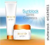 sun care cream bottle  tube... | Shutterstock .eps vector #641654011