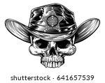 cowboy skull wering a cowboy...   Shutterstock . vector #641657539