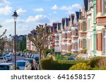 row of typical english terraced ...   Shutterstock . vector #641658157