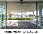automatic door inside airport. | Shutterstock . vector #641659231