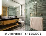 interior of a modern bathroom... | Shutterstock . vector #641663071
