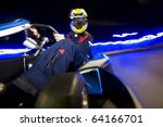racing driver leaning towards... | Shutterstock . vector #64166701