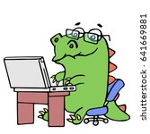 cute dinosaur working at the... | Shutterstock .eps vector #641669881