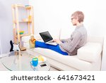 cad software engineer wearing... | Shutterstock . vector #641673421
