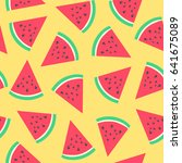 watermelon  pattern. vector... | Shutterstock .eps vector #641675089