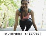 breathless sportswoman athletic ... | Shutterstock . vector #641677834