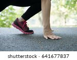 breathless sportswoman athletic ... | Shutterstock . vector #641677837