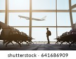 alone traveler and empty chairs ... | Shutterstock . vector #641686909
