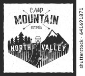 mountain camp poster. north... | Shutterstock . vector #641691871