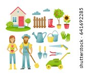garden elements. eco farm with... | Shutterstock .eps vector #641692285
