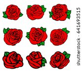 flowers roses  red buds and... | Shutterstock .eps vector #641693515