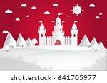 white paper castle mountain... | Shutterstock .eps vector #641705977