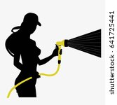 silhouette of a working girl... | Shutterstock .eps vector #641725441